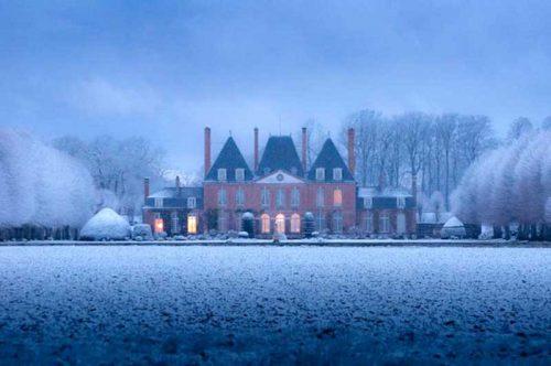 Château de mesnil Geoffroy sous la neige